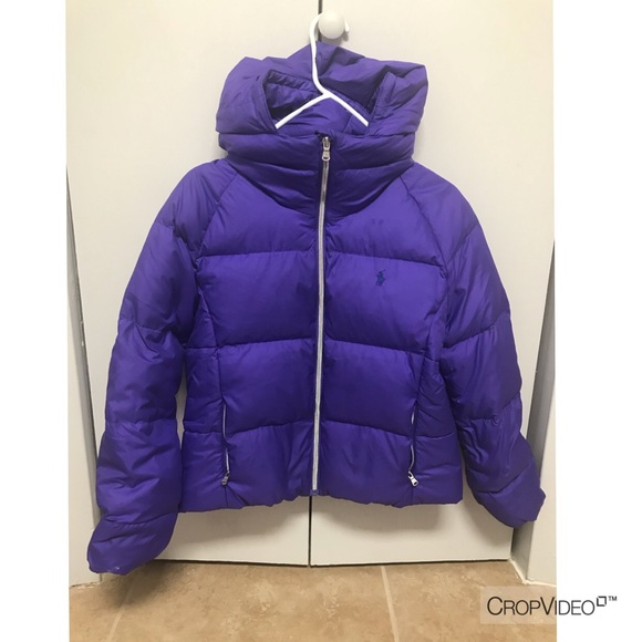 classcic fast color low priced Ralph Lauren Girls Purple Hooded Quilted Down Coat